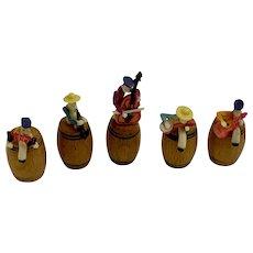 Five Celluloid Men on Barrels Band Musicians Dollhouse Miniatures