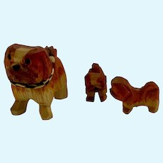 Wood Carved Miniature Dog Set Dollhouse Figures