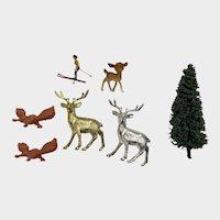 Vintage Miniature Dollhouse Deer, Squirrels, Skier and Tree Plastic Figures