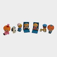Adorable Rag Doll Miniature Bookends, Dog and Children Dollhouse Figures