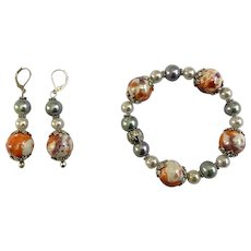 Colorful Beaded Sparkle Bracelet and Earrings Matching Set