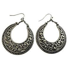 Large Dangling Silver-Tone Loop Earrings
