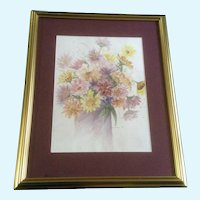 Still-life Daisies, Watercolor Painting Signed by Artist Hermene