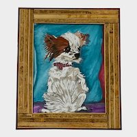 S Harpercee, Scruffy White and Brown Puppy Dog Watercolor and Ink Painting