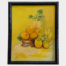 Barter, Mid-Century Still Life Yellow Fruit Table Scene Oil Painting