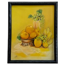 Barter, Mid-Century Still Life Yellow Fruit Table Scene Oil Painting
