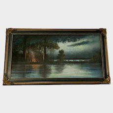 Andrew Severin Gunderson, Antique Nocturnal Campfire Camping Pastel Painting Listed Artist