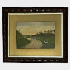 J McIntyre, Eventide English Countryside Watercolor Painting