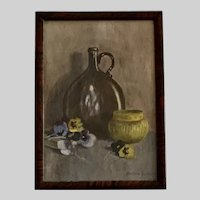 Bertha Schmutz, Bottle with Pansy Flowers Still Life Watercolor Painting