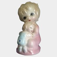 Vintage Big Eyed Josef Originals Girl Holding Her Baby Brother Porcelain Figurine