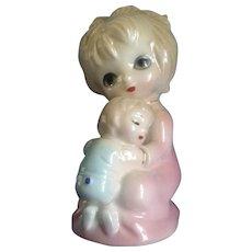 Vintage Big Eyed Josef Originals Girl Holding Her Baby Brother Porcelain Figurine