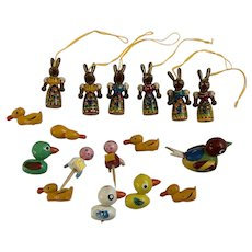 Miniature Wood Easter Bunny Rabbit Ornaments and Ducks Hand Painted Group
