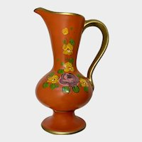 Mid-Century Orange Floral Italian Pitcher Vase Made in Italy Pottery