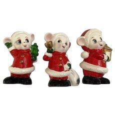 Three Christmas Santa Outfit Mice UCGC 1960s-70s Ceramic Figurines