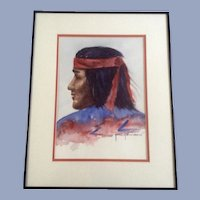 Jane Johnson, Native American Indian Watercolor Painting Signed