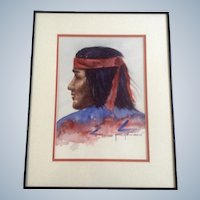 Jane Johnson, Native American Indian Watercolor Painting Works on Paper signed by Artist Art