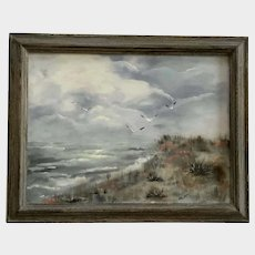 Seagulls Flying by the Sea Oil Painting Seascape Monogrammed By Artist