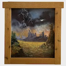 Lee Brown, Lightning Storm By Pinnacles and Rock Formations Landscape Oil Painting