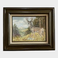 Bida Rogers, Buck Deer in the Wilderness Still Life Oil Painting 1978