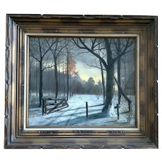 Rundy Patterson, Deer in Snow By a Rustic Fence Landscape Oil Painting