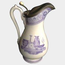 Mayer & Elliot Pitcher 'Etruscan Vases' Jug Ironstone Pewter Cover Antique English 19th Century 1858 -1861 England Transferware Printing