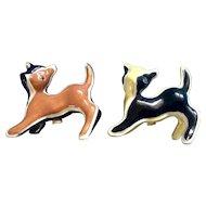 Vintage Cats Calico Patchwork Salt & Pepper Shakers Japan Figurines