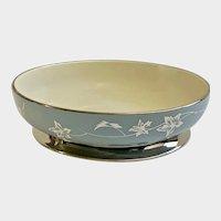"""Flintridge China Misty Leaf Strata Blue 8"""" Vegetable Serving Bowl Footed"""