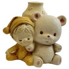 UCTCI Vintage Ceramic Vase Bear and Child Figurine Stoneware Figurine