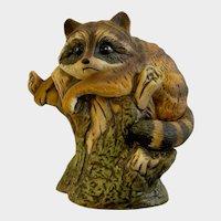 Enesco Raccoon Mat Finished Hand Painted Ceramic Figurine E 9025