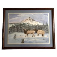W M Wise, Large Watercolor Painting, Elk in the Snowy High Country, Works on Paper Signed by Artist