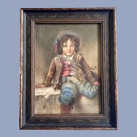 Old Master Watercolor Portrait Painting of a Small Boy