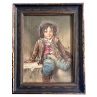 Old Master Watercolor Portrait Painting of a Small Boy, Works on Paper