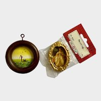 Miniature Dollhouse Paintings Hand Pump and Victorian Lady Group