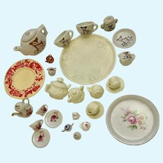 Dollhouse Miniature Plates Cups Sugar Bowls Creamers Teapots Group