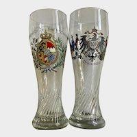 Vintage Tall Beer Glasses Deutschland Germany Eagle Crests