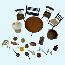 Dollhouse Miniatures Wooden Furniture and Household Items