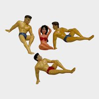 Silly Mid-Century Cake Toppers Men Watching Woman in Bikini