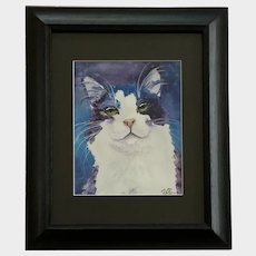 C Shapiro, Green Eyed Kitty Cat Watercolor Painting Works on Paper