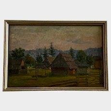 Lamm Y, Old Landscape Settlement Oil Painting 1941 Heidelberg, Germany