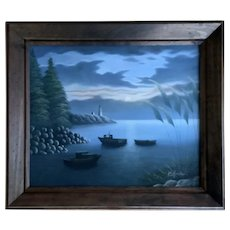 K Haskin, Seascape Lighthouse Oil Painting