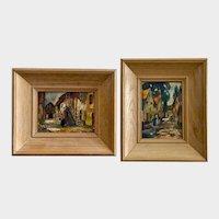 Vintage Street Scenes of Brussels and New Orleans Watercolor Paintings