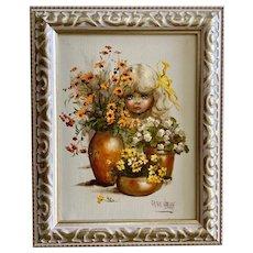 Grace Harvey, Portrait Platinum Blond Girl Peeking through Flower Pots Oil Painting