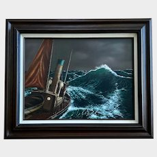 John Trep, Fishing Boat In rough Seas Nautical Seascape Oil Painting