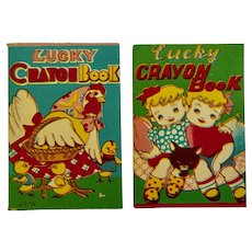 Lucky Crayon Book 1940s Japan Miniature Coloring Books Unused