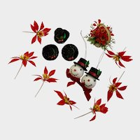 Vintage Christmas Decorations Snowmen, Hats and Poinsettia Flowers Group NOS
