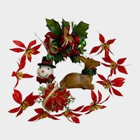 Vintage Christmas Decorations Poinsettia, Corsage Deer and Snowman Head Group NOS