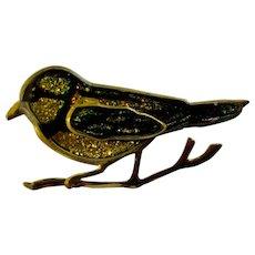 Vintage Yellow Glitter Bird Pin Enamel Glaze