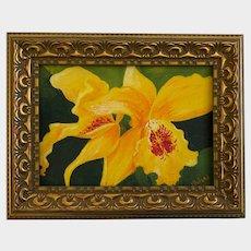 Vlolani, Yellow Tropical Flowers Acrylic Painting