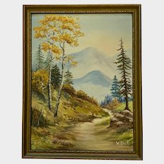 V Bell, Path to the Mountains Vintage Landscape Oil Painting
