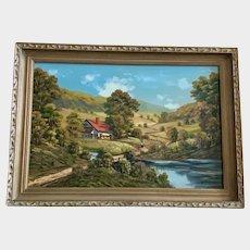 J Woodie, Large European Landscape Pastoral Scene Oil Painting